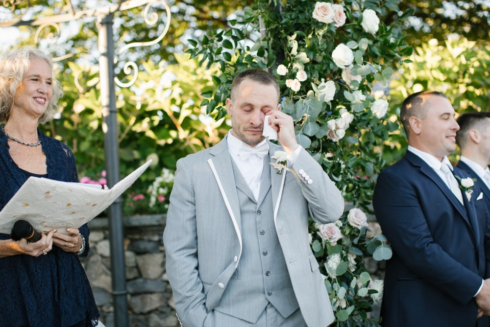 groom cries seeing bride for the first time on NJ wedding day
