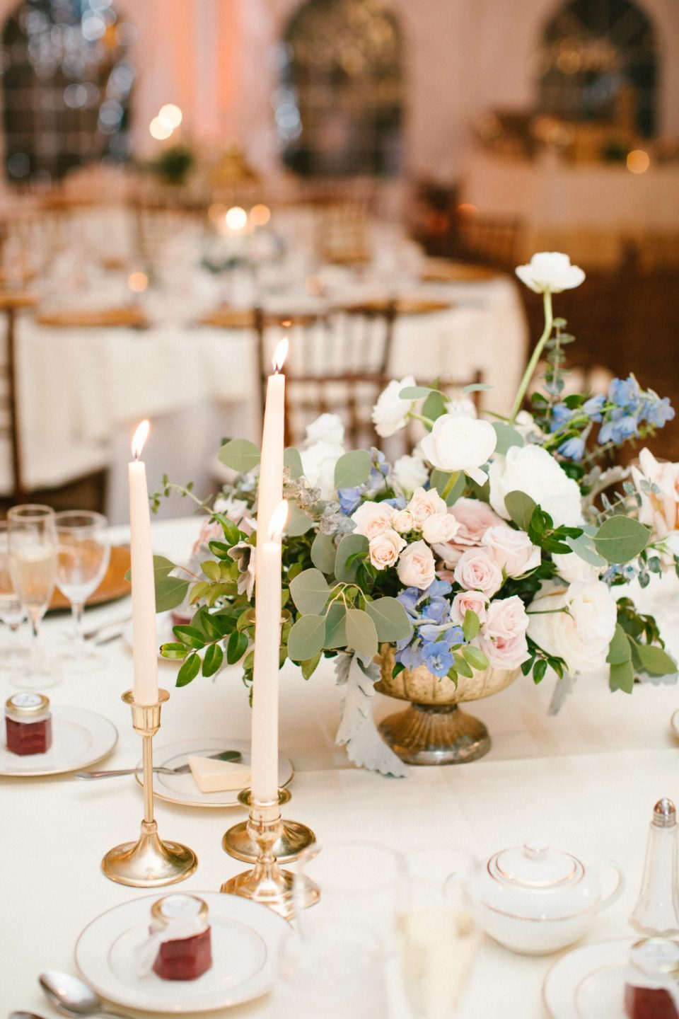 elegant wedding reception decor at West Hills Country Club