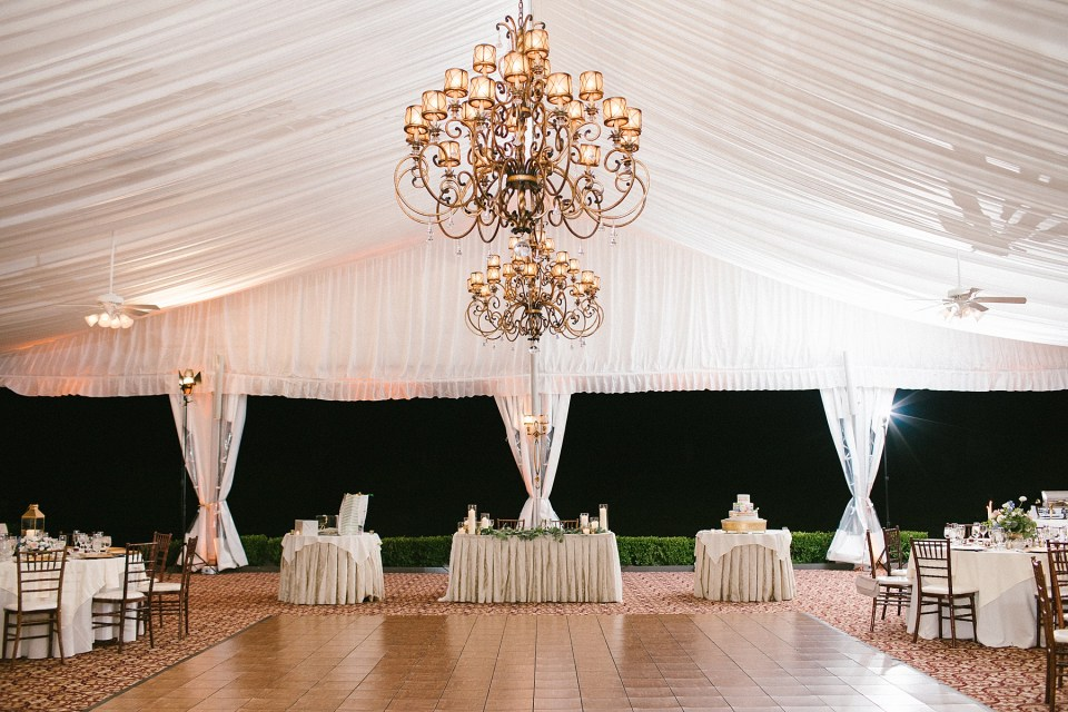 tented wedding reception at West Hills Country Club