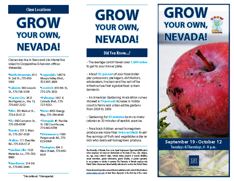 Grow Your Own, Nevada! Flyer and Registration Form