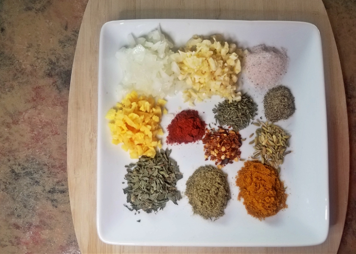 plate of all the spices that go into this recipe
