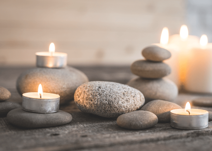 zen rocks and candles