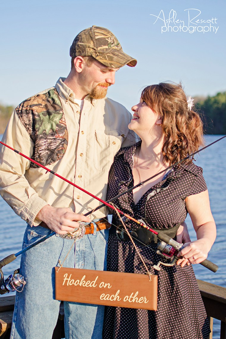 hooked on each other, couple with fishing poles