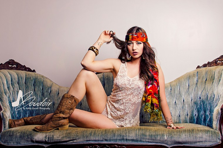Gypsy woman on couch