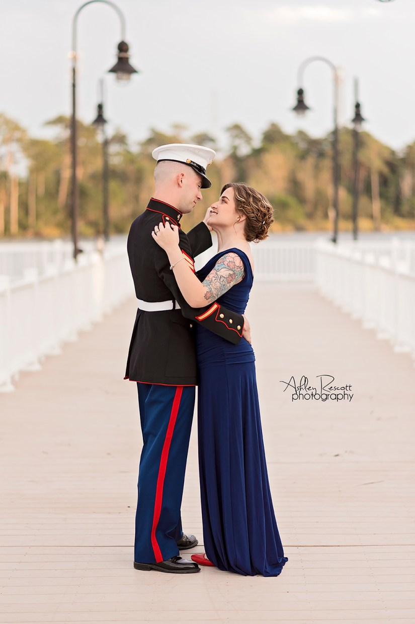 Marine dancing with his wife