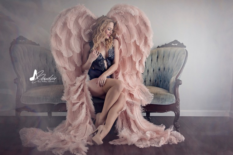 coy angel on couch
