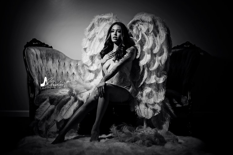 black and white, boudoir angel on couch