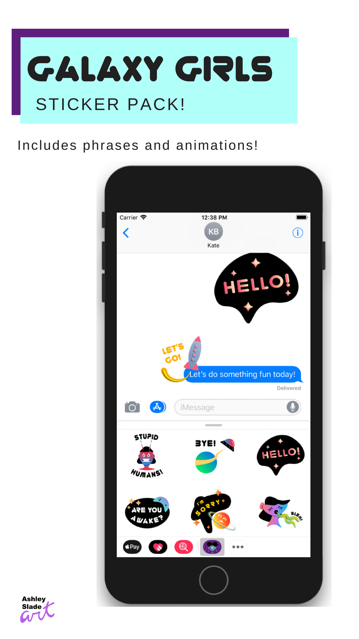 Galaxy Girls iMessage Stickers – Ashley Slade Art