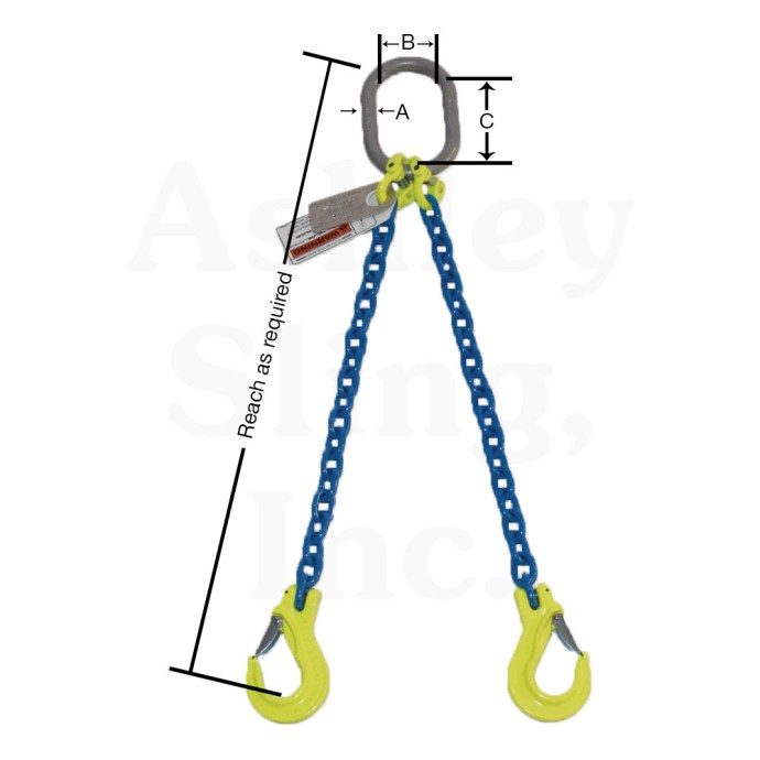 2 Leg Alloy Chain Sling Dimensions