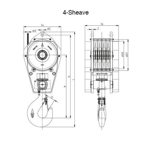 4 Sheave Standard Reeve Block Drawing