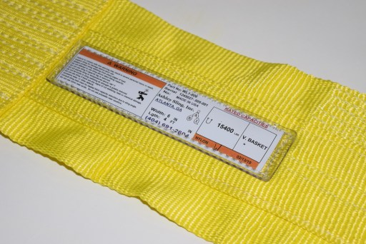 Example of tag on a nylon web sling