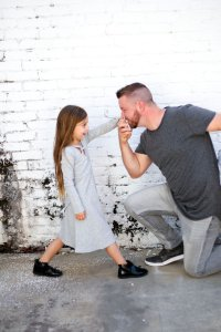 Daddy and Daughter Brick Wall Picture