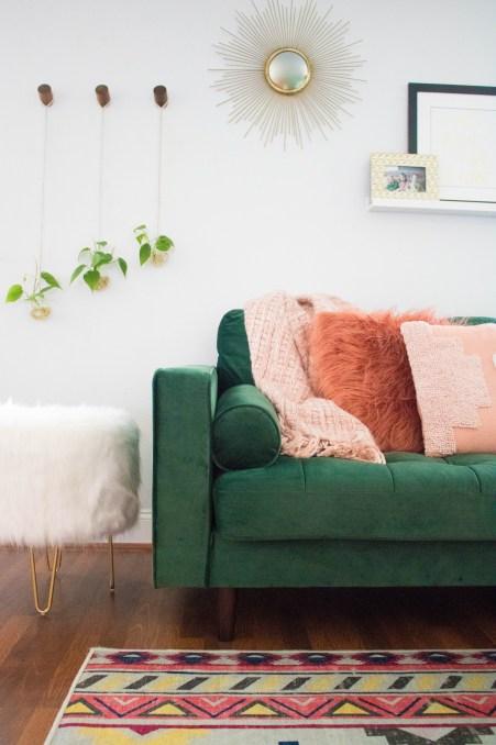 Boho Chic Living Room Green Sofa Aztec Rug Indoor Plant Ideas