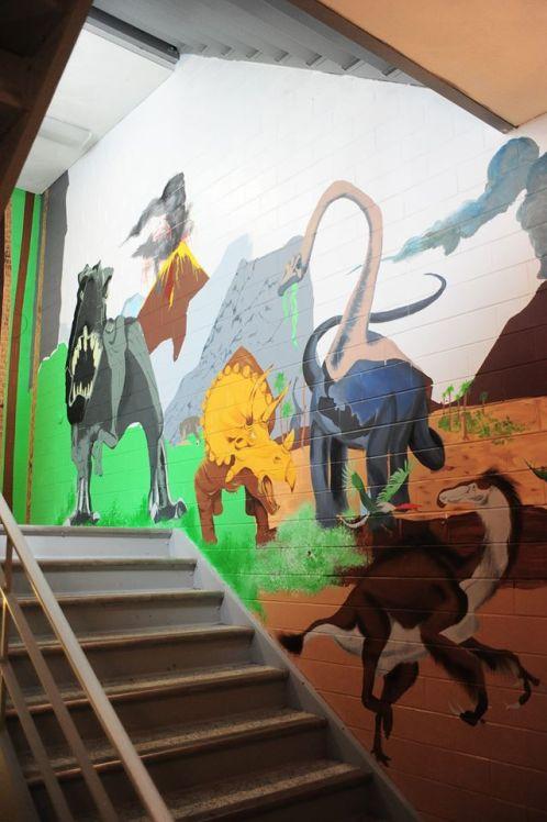 Stairwell Mural Dinosaur Scene