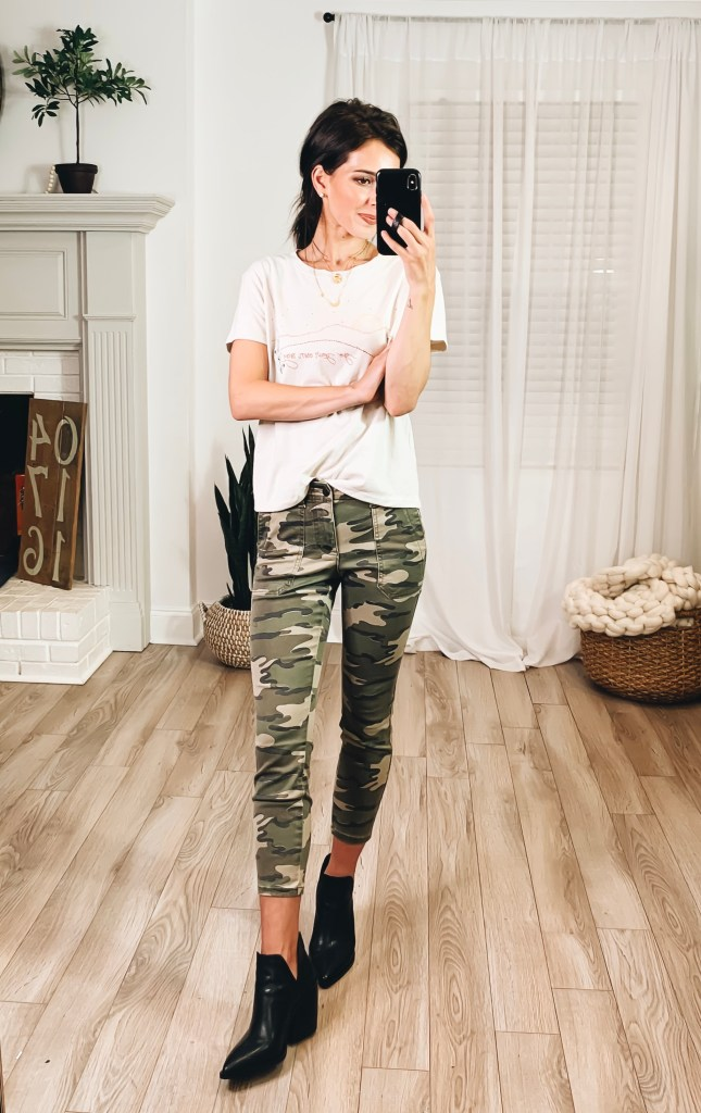 Nordstrom Anniversary Sale 2019 Try-On Haul by popular US fashion blogger, Ashley Hodges: image of woman standing inside her house wearing a Go Your Own Way Cotton Tee, Nordstrom Gigietta Bootie, Caslon Crop Utility Pants, Goodnight Necklaces // 3ct Cubic Zirconia Earrings and Nordstrom 3ct Cubic Zirconia Earrings.
