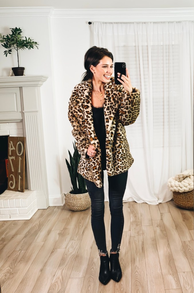 Nordstrom Anniversary Sale 2019 Try-On Haul by popular US fashion blogger, Ashley Hodges: image of woman standing inside her house wearing a Halogen Faux Fur Coat, BP Lace Trim Satin Camisole Top, Topshop Jamie High Waist Ripped Hem Skinny Jeans, Nordstrom Gigietta Bootie, Goodnight Necklaces, and Nordstrom 3ct Cubic Zirconia Earrings.