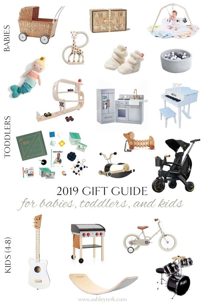 Gift Guide: The Best Gifts for Children by popular North Carolina life and style blogger, Ashley Terk: collage image of wooden blocks, giraffe teether, mermaid doll, mini piano, play kitchen, drum set, white bike, wooden car track, strolley, Zutano fleece baby booties, and wooden bbq grill.