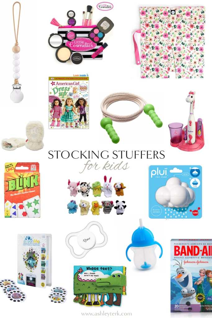 Gift Guide: Best Stocking Stuffer Ideas the Whole Family Will Love by popular North Carolina life and style blogger, Ashley Terk: collage image of animal finger puppets, Blink, unicorn electric toothbrush, frozen band aids, sippy cup, Little Cosmetics makeup, American Girl book, and binky.