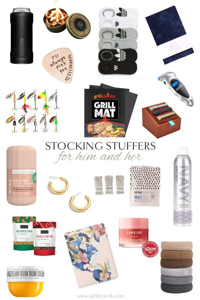 Gift Guide: Best Stocking Stuffer Ideas the Whole Family Will Love by popular North Carolina life and style blogger, Ashley Terk: collage image of personalized guitar pick, grill mat, fishing bobs, gold hoop earrings, Adidas socks, razor, hair ties, and thermos.