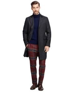 Brooks Brothers Saxxon Wool Herringbone Chesterfield