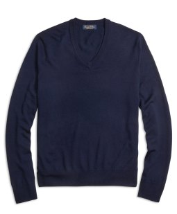Brooks Brothers Navy Saxxon V-Neck Sweater