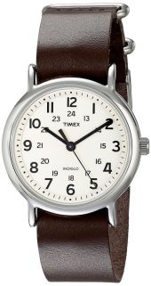 Timex T2N893 Weekender Silver-Tone Watch with Leather Band