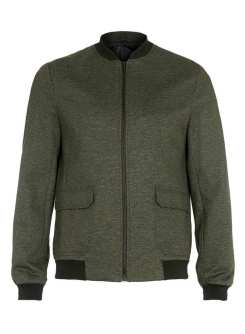 Topman Green Khaki Tailored Jersey Bomber Jacket