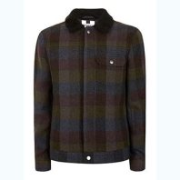 TopMan Khaki Check Wool Blend Western Jacket