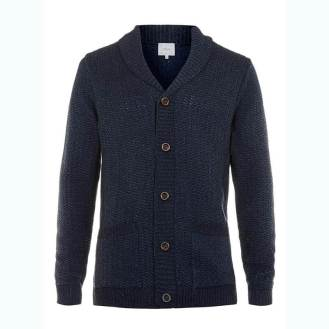 TopMan Navy Twist Gridstitch Cardigan
