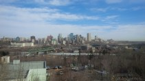 View of downtown Edmonton as seen from the Laurence Decore Lookout on the southside of the North Saskatchewan River