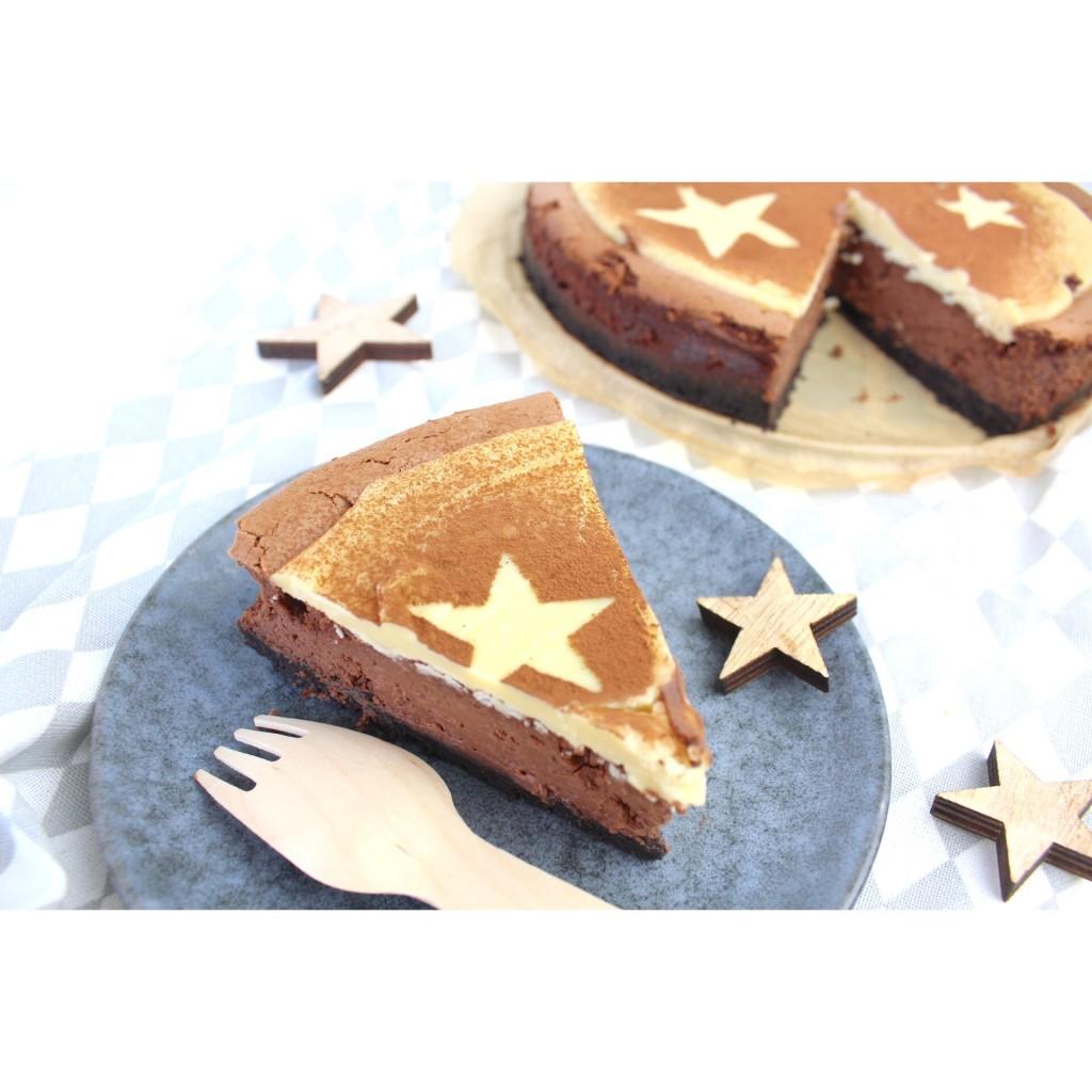 chocolade cheesecake met oreo bodem en sterren