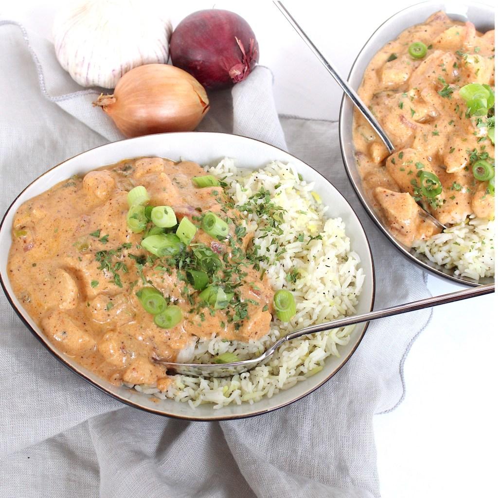 Simpele kip tandoori met gestoomde rijst