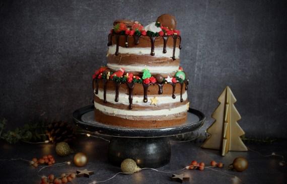 Chocolade kerst drip cake