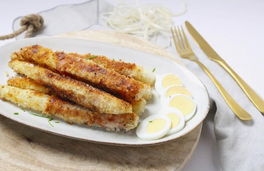 Krokante asperges met rauwe ham
