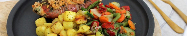 Krieltjes, kipfilet uit de oven en Iglo Groente-Idee Italiaans