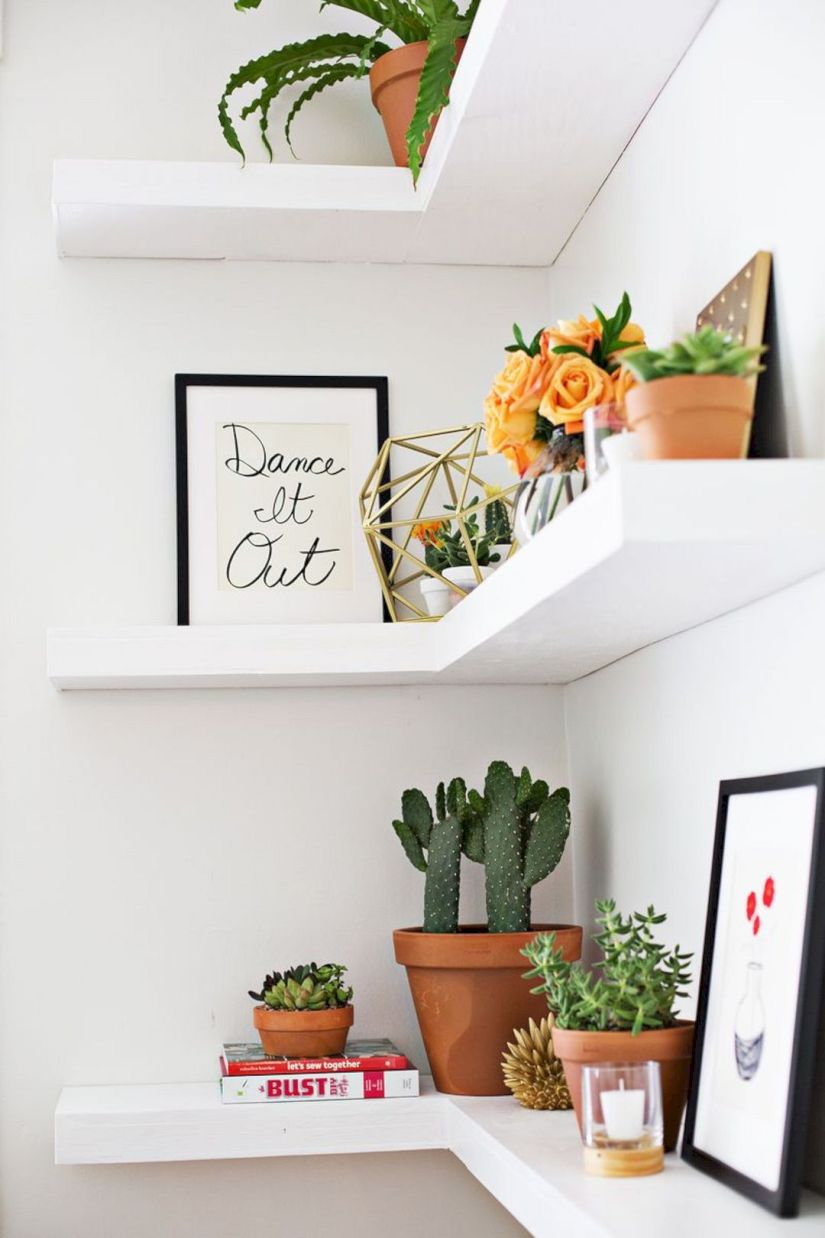 shelf decor ideas brown wood