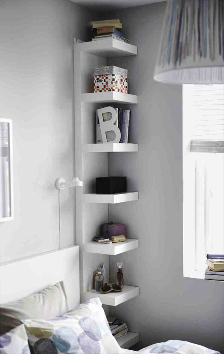 bedroom corner shelf idea