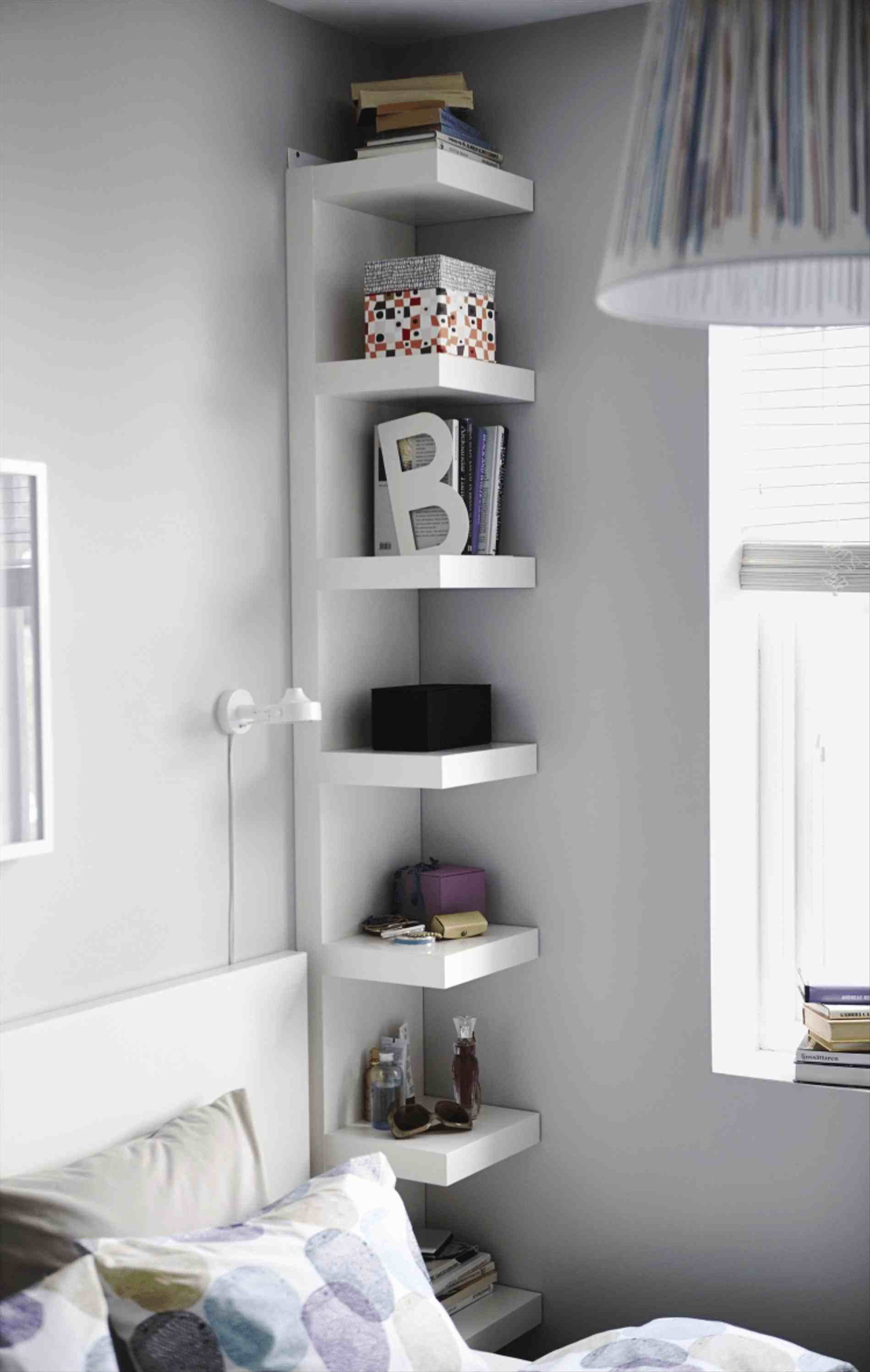 bedroom corner shelf idea