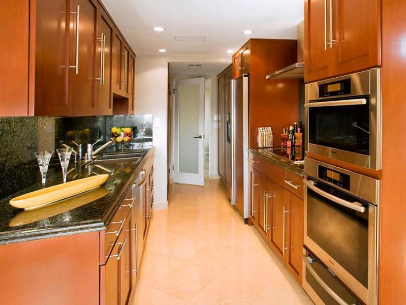 wide galley kitchen layouts