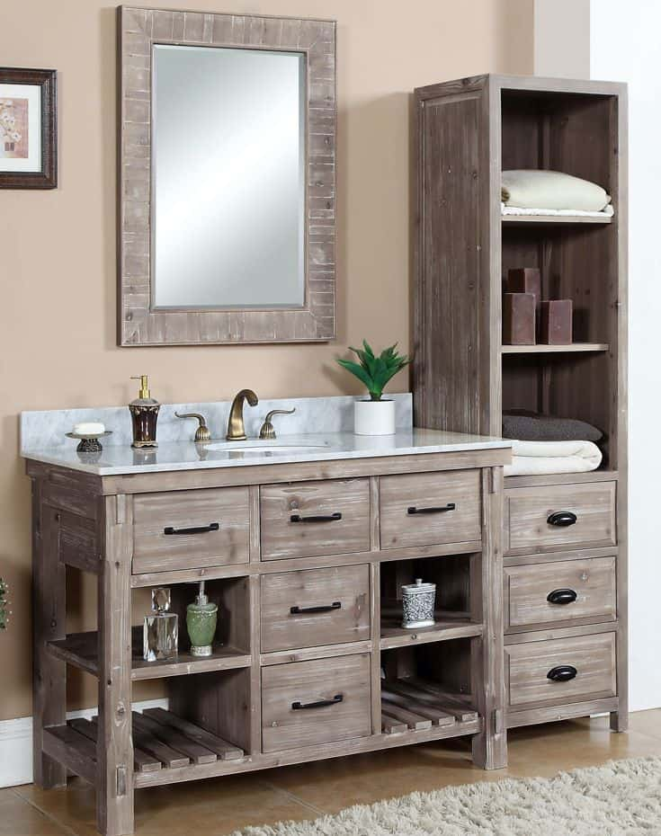 bathroom vanity with side cabinet