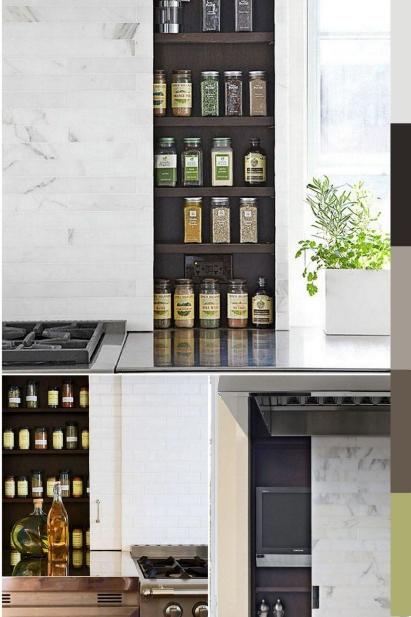 modern backsplash spice rack