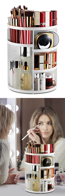 Rotating makeup vanity storage