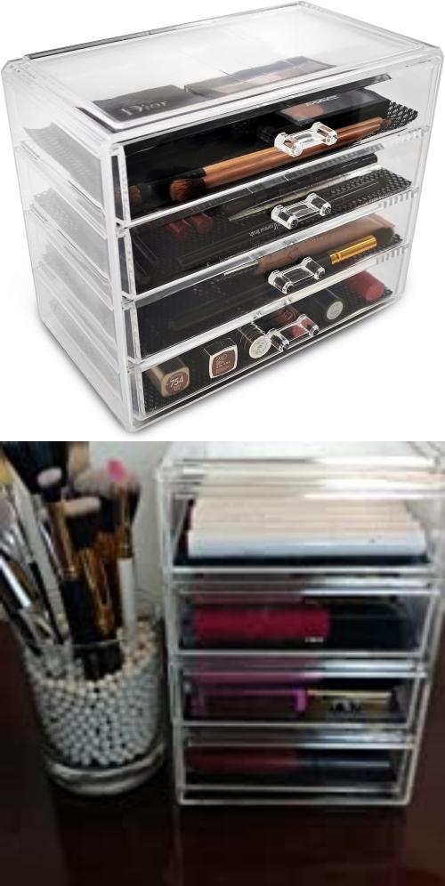 Clear makeup storage drawer