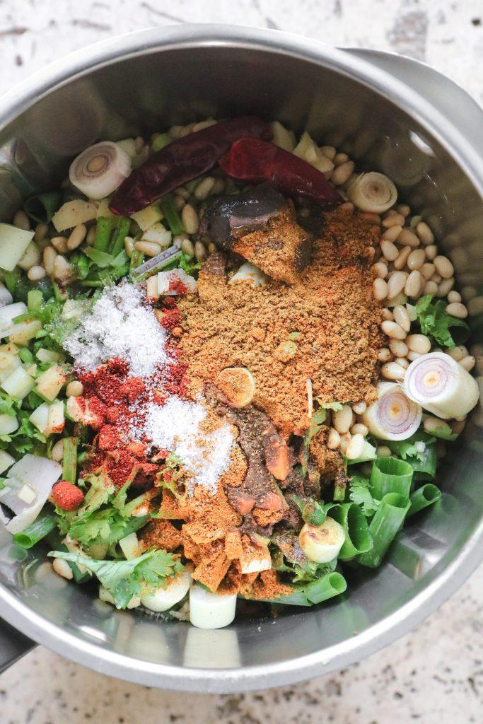 Low FODMAP laksa paste ingredients in bowl of food processor
