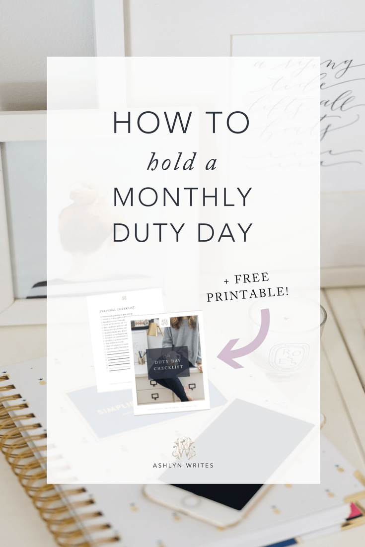 How to start a monthly duty day. #productivity #creativepreneur