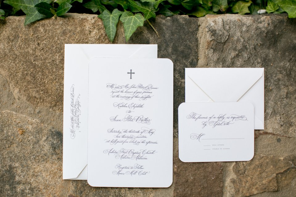 Auburn, Alabama wedding invitation design by Atlanta wedding calligrapher Ashlyn Carter - classic copperplate calligraphy font