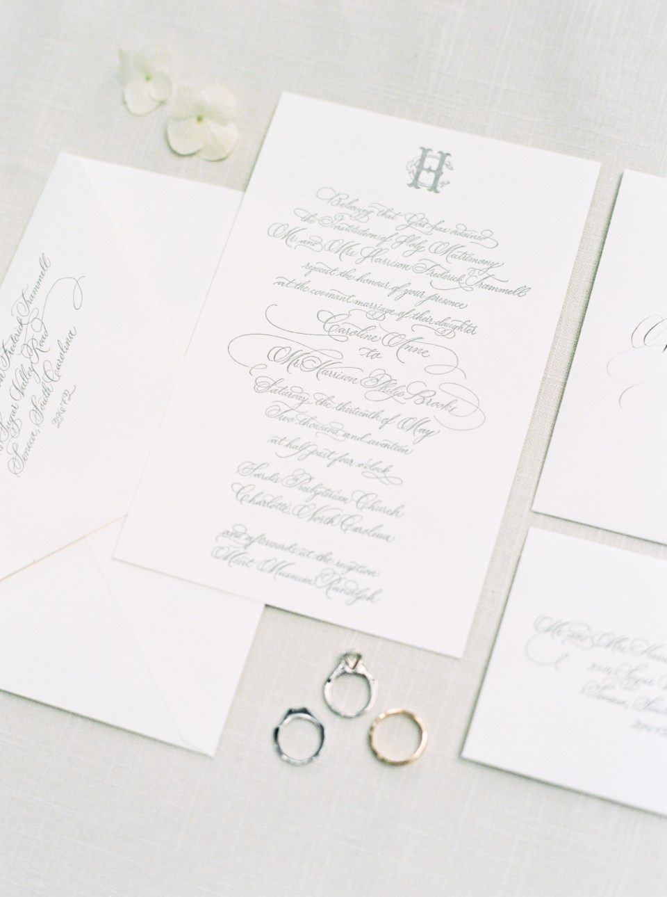 Classic southern wedding invitation calligraphy for North Carolina wedding by Ashlyn Writes Wedding Calligraphy Atlanta Wedding Calligrapher