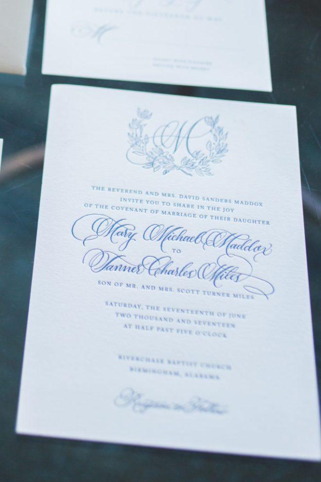 Classic southern wedding invitation calligraphy for The Club, Birmingham, Alabama wedding by Ashlyn Writes Wedding Calligraphy Atlanta Wedding Calligrapher