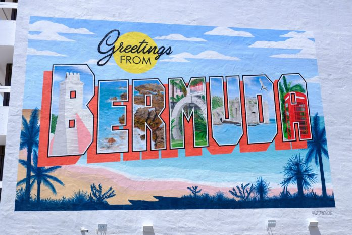 greetings from Bermuda that has been painted on a building
