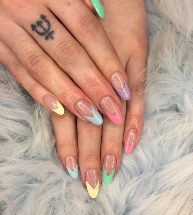 Pastel Chevron French Nails by Naf Salon, Glasgow
